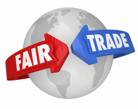 equitable: Fair Trade words on arrows around the world supporting equitable conditions in the global supply chain of products, goods and services Stock Photo