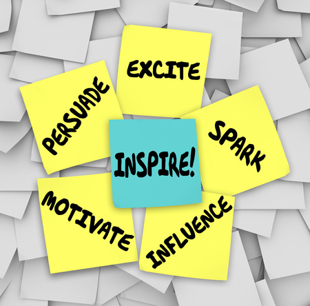 persuade: Inspire, Motivate, Persuade, Excite, Spark and Influence words on sticky notes on an office or company bulletin board to get you thinking creatively with imagination Stock Photo