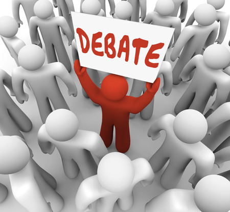 deliberation: Debate word written on a sign held by a man or person who wants to share his view in an argument, discussion or exchange of ideas