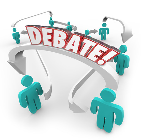 Debate word in red 3d letters on arrows connecting people discussing disagreements and exchanging or sharing ideas Фото со стока