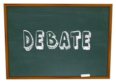 Debate word written on a chalkboard as a lesson from teacher to student in debating class learning skills Stockfoto