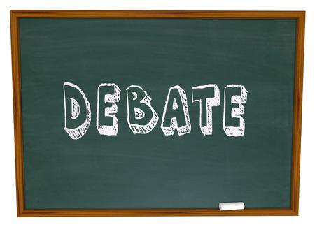 Debate word written on a chalkboard as a lesson from teacher to student in debating class learning skills Reklamní fotografie