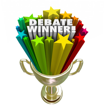 Debate Winner words in colorful stars in a gold trophy, award or prize to the person or team with the best argument or debating skills in a competition Stock Photo