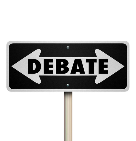 Debate word on a 3d two-way road sign pointing to a side you must choose in an argument or dispute
