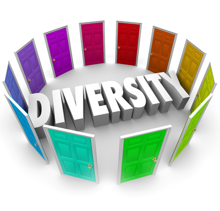 opinions: Diversity word in white 3d letters surrounded by color doors representing many ethnic, cultural or racial diverse backgrounds and opinions to share Stock Photo