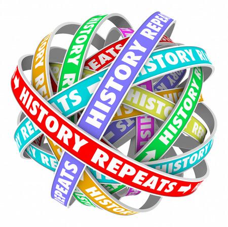 De geschiedenis herhaalt woorden op kleurrijke linten in een cirkel om repetitieve handelingen te illustreren in een cyclisch patroon van gisteren, vandaag en morgen