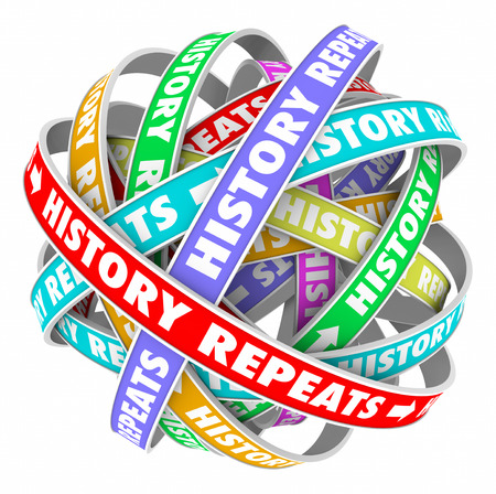 tomorrow: History Repeats words on colorful ribbons in a circle to illustrate repetitive actions in a cyclical pattern of yesterday, today and tomorrow