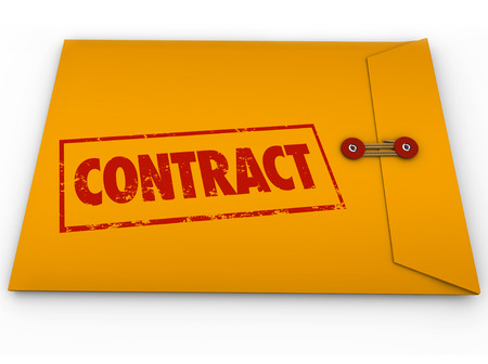contractual: Contract word stamped in red ink on a yellow envelope containing official papers, deals or business documents for you to sign or file Stock Photo