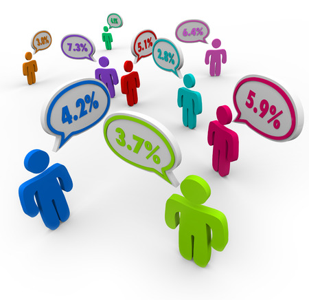 refinance: People talking with speech bubbles comparing interest rates and numbers as percentages  Stock Photo