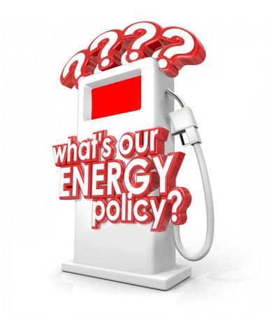 bomba de gasolina: ¿Qué hay Nuestras palabras de política energética y el signo de interrogación en una bomba de combustible o gas para preguntar sobre la estrategia política o de reserva de marcha de las importaciones o exportaciones de gasolina, petróleo u otros recursos