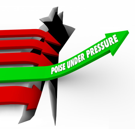 under pressure: Poise Under Pressure arrow 3d words on arrow over crack or hole as competitors fall in