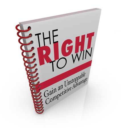 innate: The Right to Win book title on a cover for advice on gaining the competitive advantage in business, career or life Stock Photo