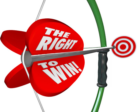 innate: The Right to Win words on 3d bow and arrow as a competitive advantage for a business to gain business from other players