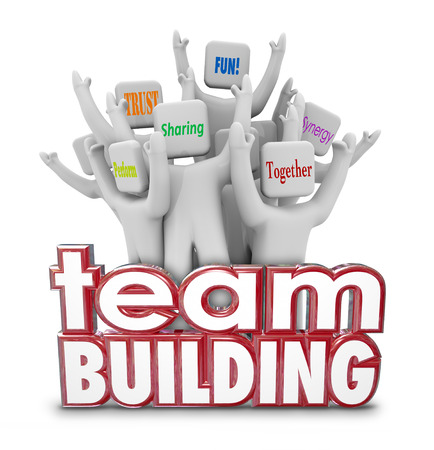 Team Building red 3d Words and cheering people, employees or teammates at a retreat or learning exercise Banque d'images