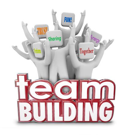 Team Building rode 3d Woorden en juichende mensen, werknemers of teamgenoten in een retraite of het leren van de oefening Stockfoto