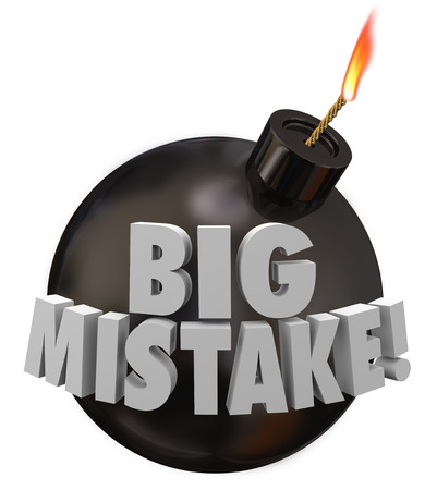 blunder: Big Mistake words in 3d letters on a black round bomb about to blow up do to an error, blunder or gaffe Stock Photo