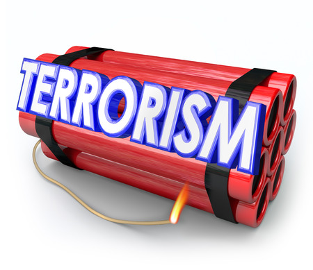 Terrorism word in 3d letters on dynamite sticks as a warning or caution of the danger of an attack from militant extremists against innocent people or civilians photo
