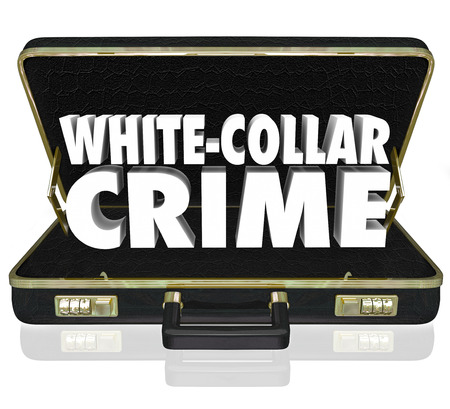 unethical: White Collar Crime words in white 3d letters in a black leather briefcase to illustrate professional criminal activities such as embezzlement, fraud and identity theft