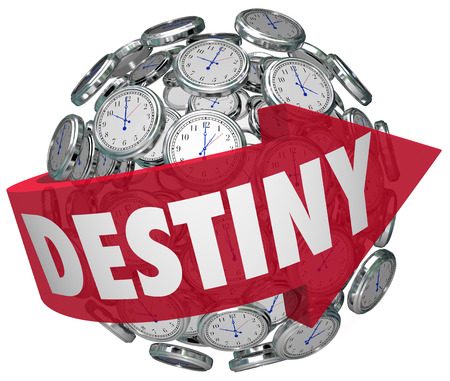 destined: Destiny word on a red arrow around a ball or sphere of clocks to illustrate moving forward in time toward your fate or ultimate fortune