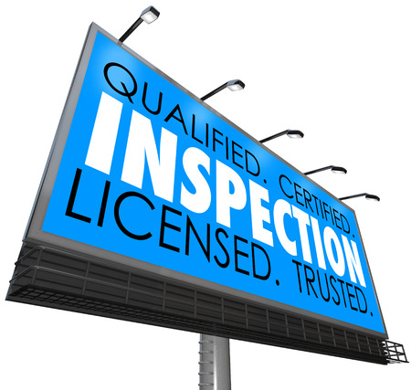 licensed: Inspection word on a blue billboard advertising an inspector service that is qualified, certified, licensed and trusted with a good reputation