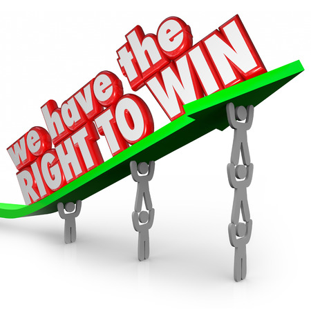 innate: We Have the Right to Win words in red 3d letters on an arrow lifted by a team working together to achieve success and beat the competition Stock Photo