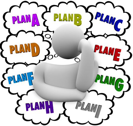 changing course: Plan A, B, C through I in thought clouds above a thinker who is revising or changing strategy to try a different approach at success