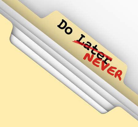esitazione: Fare in seguito - le parole mai su una scheda cartella di file manila per illustrare il lavoro che viene messo per sempre in procrastinazione Archivio Fotografico