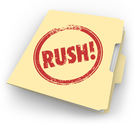 time critical: Rush word stamped in red ink on a manila folder full of paperwork or documents that are time sensitve and must be expedited Stock Photo