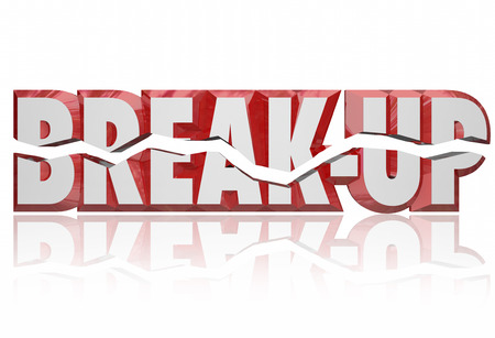 dissolution: Break-Up broken words in red 3d letters to illustrate a divorce, separation or split partnership between people or parties