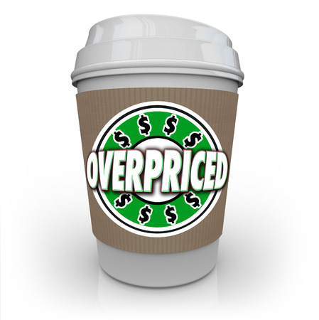 pricey: Overpriced coffee cup as an expensive, costly drink at too high a cost and wasteful spending for too little value Stock Photo