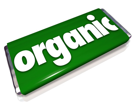 trusted: Organic word on a green candy bar or snack wrapper to advertise a food that is a healthy choice to buy and eat