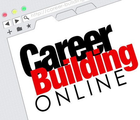 building a website: Career Building Online words on a website screen or internet resource for finding a job with classified ads
