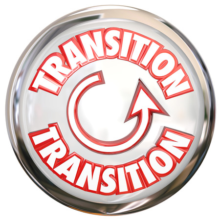 transition: Transition word on a white button or icon to illustrate change or a process cycle for evolving or refreshing