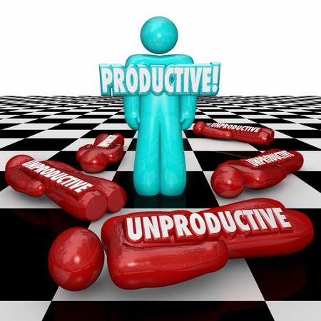 optimizing: Productive vs Unproductive 3d words on workers being evaluated for highest efficiency and most output for work done in a process or system