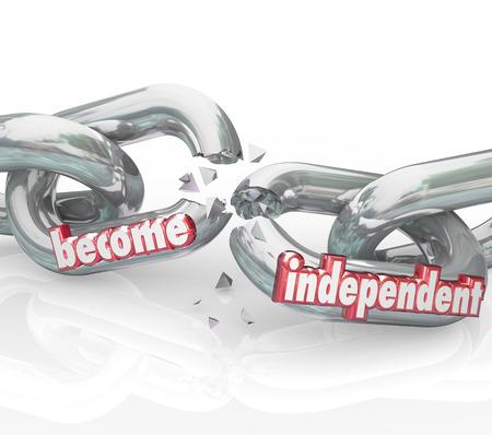 autonomia: Convi�rtete en palabras 3d rojos independientes en las cadenas se rompen para ilustrar obtener la libertad y ser independientes para controlar su propio destino Foto de archivo