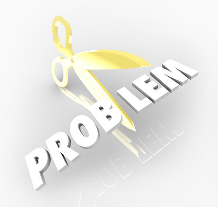 problem: Problem word 3d letters scissors cutting out trouble issue solving challenge