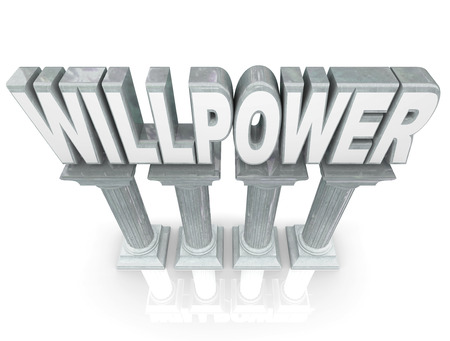 firmness: Willpower word in 3d letters on marble stone columns to illustrate strength, resolve and determination in completing a job or sticking to a challenge