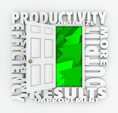 効率性を含む、立ち上がりの緑色の矢印に開いたドアの周りの 3 d 生産性単語増加、結果と出力を向上させる