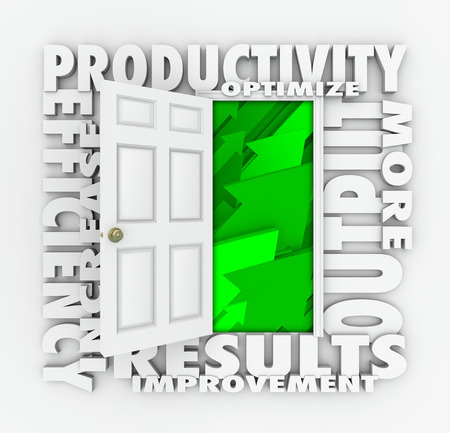 Productivity words in 3d letters around an open door to green arrows rising up, including efficiency, increase, improve, results and output Imagens