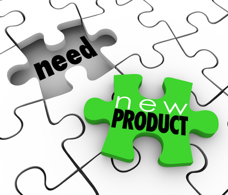 business products: New Product words on a puzzle piece filling customer needs in a gap or underserved or unserved market demand
