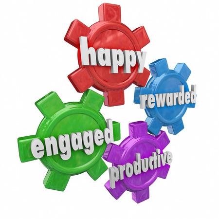 empleados trabajando: Engaged, palabras felices, premia y productivas en los engranajes 3d para ilustrar un empleador y fuerza de trabajo que sea eficiente y un gran lugar para trabajar