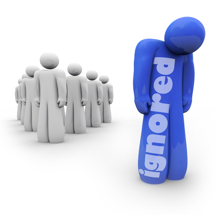 Ignored word on a blue 3d person standing sad and depressed apart from the group, shunned by friends and family Stock Photo