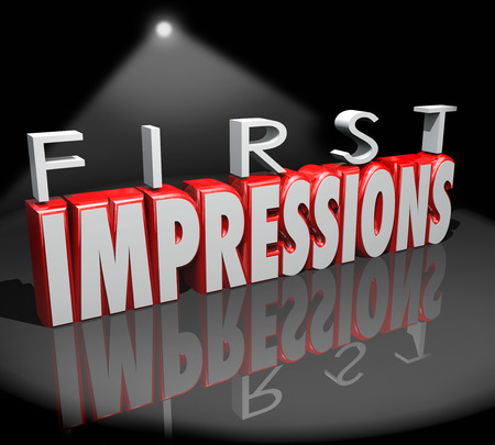 judgments: First Impressions words in 3d letters under a spotlight as an introduction to new people, a meeting or debut