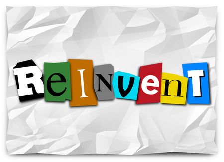 remake: Reinvent word in cut out letters to illustrate a product or idea refresh, redo, remake, renovation, revamp or overall improvement