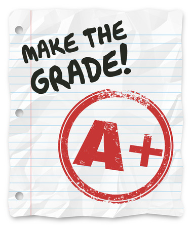 Make the Grade words on lined paper to tell you to prove yourself, your skills knowledge and abilities photo