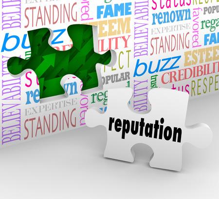 referidos: Reputaci�n y palabras relacionadas en una pared con un agujero y una pieza para proporcionar la soluci�n para la construcci�n de su confianza estatus, honor y referencias