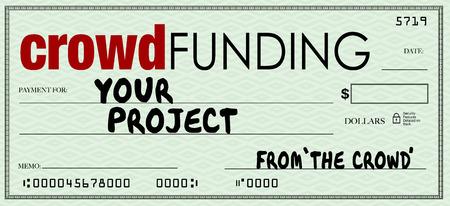 cheque en blanco: Campaña de crowdfunding financia su proyecto con la inversión de personas en internet que quieren apoyar a su empresa o causa Foto de archivo