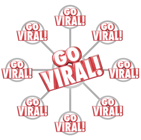 Go Viral red 3d words on a grid of connected messages or communication to illustrate spreading or sharing information via marketing or advertising photo