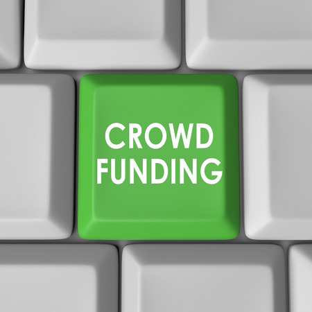 crowd source: Crowd Funding words on a 3d green computer keyboard key or button to illustrate financial support, help or assistance from a broad audience of customers, viewers and investors Stock Photo