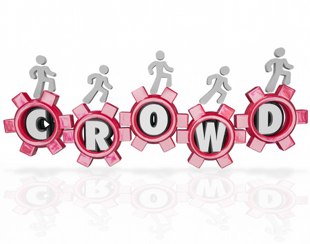 crowdsource: Crowd word in gears and people walking forward to help crowdfund or crowdsource your new project